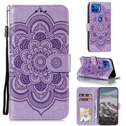 Intricate Embossing Datura Solar Leather Wallet Case for Motorola Moto G 5G Plus - Purple