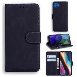 Retro Classic Skin Feel Leather Wallet Phone Case for Motorola Moto G 5G Plus - Black