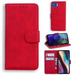 Retro Classic Skin Feel Leather Wallet Phone Case for Motorola Moto G 5G Plus - Red
