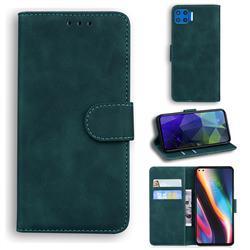 Retro Classic Skin Feel Leather Wallet Phone Case for Motorola Moto G 5G Plus - Green