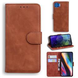 Retro Classic Skin Feel Leather Wallet Phone Case for Motorola Moto G 5G Plus - Brown