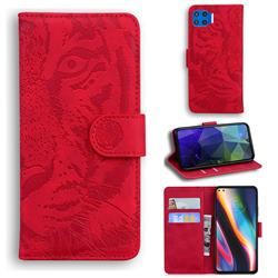 Intricate Embossing Tiger Face Leather Wallet Case for Motorola Moto G 5G Plus - Red
