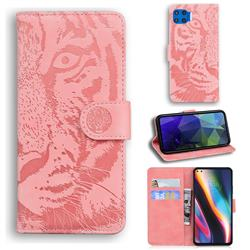 Intricate Embossing Tiger Face Leather Wallet Case for Motorola Moto G 5G Plus - Pink