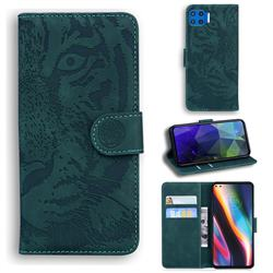 Intricate Embossing Tiger Face Leather Wallet Case for Motorola Moto G 5G Plus - Green