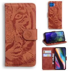 Intricate Embossing Tiger Face Leather Wallet Case for Motorola Moto G 5G Plus - Brown