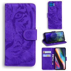 Intricate Embossing Tiger Face Leather Wallet Case for Motorola Moto G 5G Plus - Purple