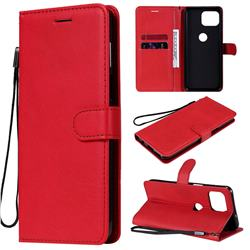 Retro Greek Classic Smooth PU Leather Wallet Phone Case for Motorola Moto G 5G Plus - Red