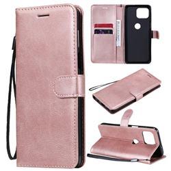 Retro Greek Classic Smooth PU Leather Wallet Phone Case for Motorola Moto G 5G Plus - Rose Gold