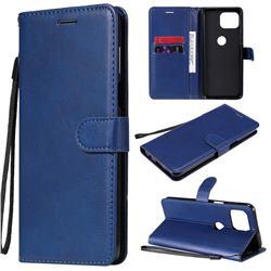 Retro Greek Classic Smooth PU Leather Wallet Phone Case for Motorola Moto G 5G Plus - Blue