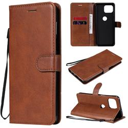 Retro Greek Classic Smooth PU Leather Wallet Phone Case for Motorola Moto G 5G Plus - Brown