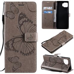 Embossing 3D Butterfly Leather Wallet Case for Motorola Moto G 5G Plus - Gray