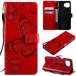Embossing 3D Butterfly Leather Wallet Case for Motorola Moto G 5G Plus - Red