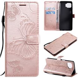 Embossing 3D Butterfly Leather Wallet Case for Motorola Moto G 5G Plus - Rose Gold