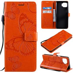 Embossing 3D Butterfly Leather Wallet Case for Motorola Moto G 5G Plus - Orange