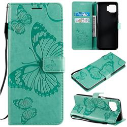Embossing 3D Butterfly Leather Wallet Case for Motorola Moto G 5G Plus - Green