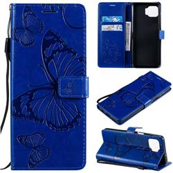 Embossing 3D Butterfly Leather Wallet Case for Motorola Moto G 5G Plus - Blue