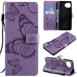 Embossing 3D Butterfly Leather Wallet Case for Motorola Moto G 5G Plus - Purple