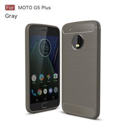 Luxury Carbon Fiber Brushed Wire Drawing Silicone TPU Back Cover for Motorola Moto G5 Plus (Gray)