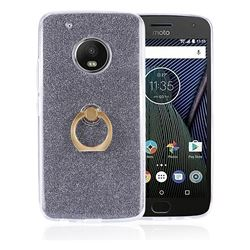 Luxury Soft TPU Glitter Back Ring Cover with 360 Rotate Finger Holder Buckle for Motorola Moto G5 Plus - Black