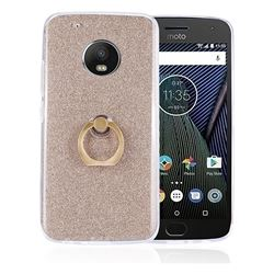 Luxury Soft TPU Glitter Back Ring Cover with 360 Rotate Finger Holder Buckle for Motorola Moto G5 Plus - Golden