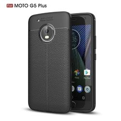 Luxury Auto Focus Litchi Texture Silicone TPU Back Cover for Motorola Moto G5 Plus - Black