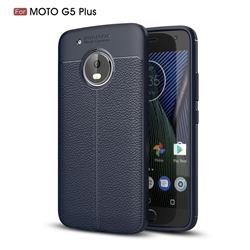 Luxury Auto Focus Litchi Texture Silicone TPU Back Cover for Motorola Moto G5 Plus - Dark Blue
