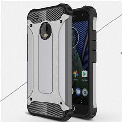 King Kong Armor Premium Shockproof Dual Layer Rugged Hard Cover for Motorola Moto G5 Plus - Silver Grey