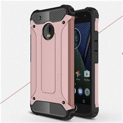 King Kong Armor Premium Shockproof Dual Layer Rugged Hard Cover for Motorola Moto G5 Plus - Rose Gold