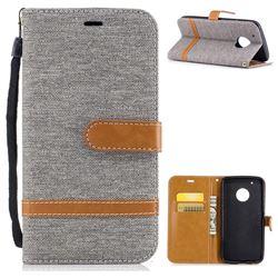 Jeans Cowboy Denim Leather Wallet Case for Motorola Moto G5 Plus - Gray