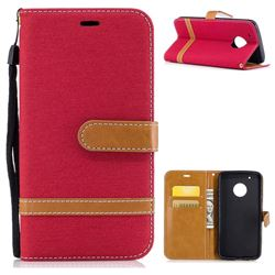 Jeans Cowboy Denim Leather Wallet Case for Motorola Moto G5 Plus - Red