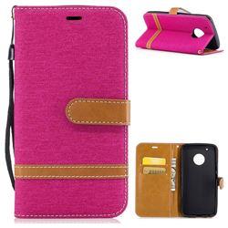 Jeans Cowboy Denim Leather Wallet Case for Motorola Moto G5 Plus - Rose