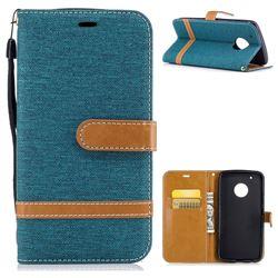 Jeans Cowboy Denim Leather Wallet Case for Motorola Moto G5 Plus - Green