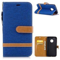 Jeans Cowboy Denim Leather Wallet Case for Motorola Moto G5 Plus - Sapphire