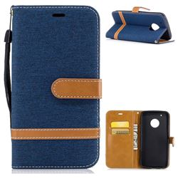 Jeans Cowboy Denim Leather Wallet Case for Motorola Moto G5 Plus - Dark Blue
