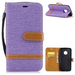 Jeans Cowboy Denim Leather Wallet Case for Motorola Moto G5 Plus - Purple