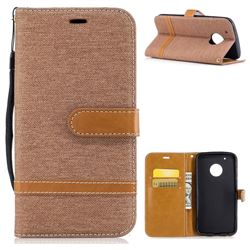 Jeans Cowboy Denim Leather Wallet Case for Motorola Moto G5 Plus - Brown