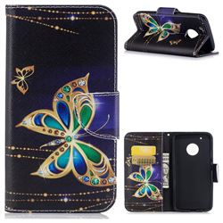 Golden Shining Butterfly Leather Wallet Case for Motorola Moto G5 Plus