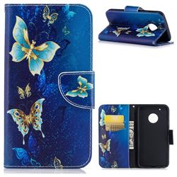 Golden Butterflies Leather Wallet Case for Motorola Moto G5 Plus