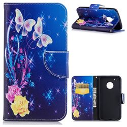 Yellow Flower Butterfly Leather Wallet Case for Motorola Moto G5 Plus