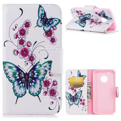 Peach Butterflies Leather Wallet Case for Motorola Moto G5 Plus