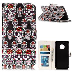 Flower Skull 3D Relief Oil PU Leather Wallet Case for Motorola Moto G5 Plus