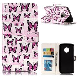 Butterflies Stickers 3D Relief Oil PU Leather Wallet Case for Motorola Moto G5 Plus