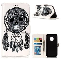 Wind Chimes Skull 3D Relief Oil PU Leather Wallet Case for Motorola Moto G5 Plus