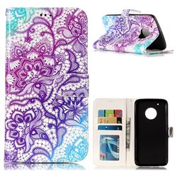 Purple Lotus 3D Relief Oil PU Leather Wallet Case for Motorola Moto G5 Plus