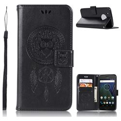 Intricate Embossing Owl Campanula Leather Wallet Case for Motorola Moto G5 Plus - Black