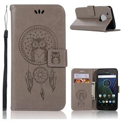 Intricate Embossing Owl Campanula Leather Wallet Case for Motorola Moto G5 Plus - Grey