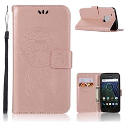 Intricate Embossing Owl Campanula Leather Wallet Case for Motorola Moto G5 Plus - Rose Gold