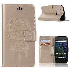 Intricate Embossing Owl Campanula Leather Wallet Case for Motorola Moto G5 Plus - Champagne