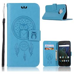 Intricate Embossing Owl Campanula Leather Wallet Case for Motorola Moto G5 Plus - Blue
