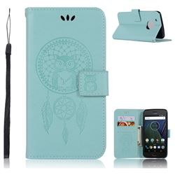 Intricate Embossing Owl Campanula Leather Wallet Case for Motorola Moto G5 Plus - Green